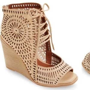 Jeffrey Campbell laser cut wedge heeled sandal